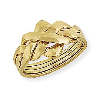 Jewelco London Solid 9ct Yellow Gold Novelty Four Piece Row Puzzle Ring - 9.4mm