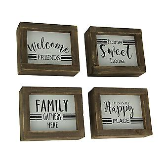Wood Block Welcome Sweet Happy Family Table Decor or Wall Hangings 4 Piece Set