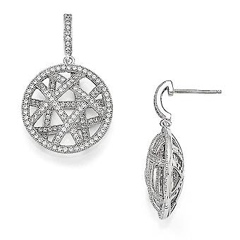 925 Sterling Silver Pave Rhodium plated and CZ Cubic Zirconia Simulated Diamond Fancy Polished Dangle Post Earrings Jewe