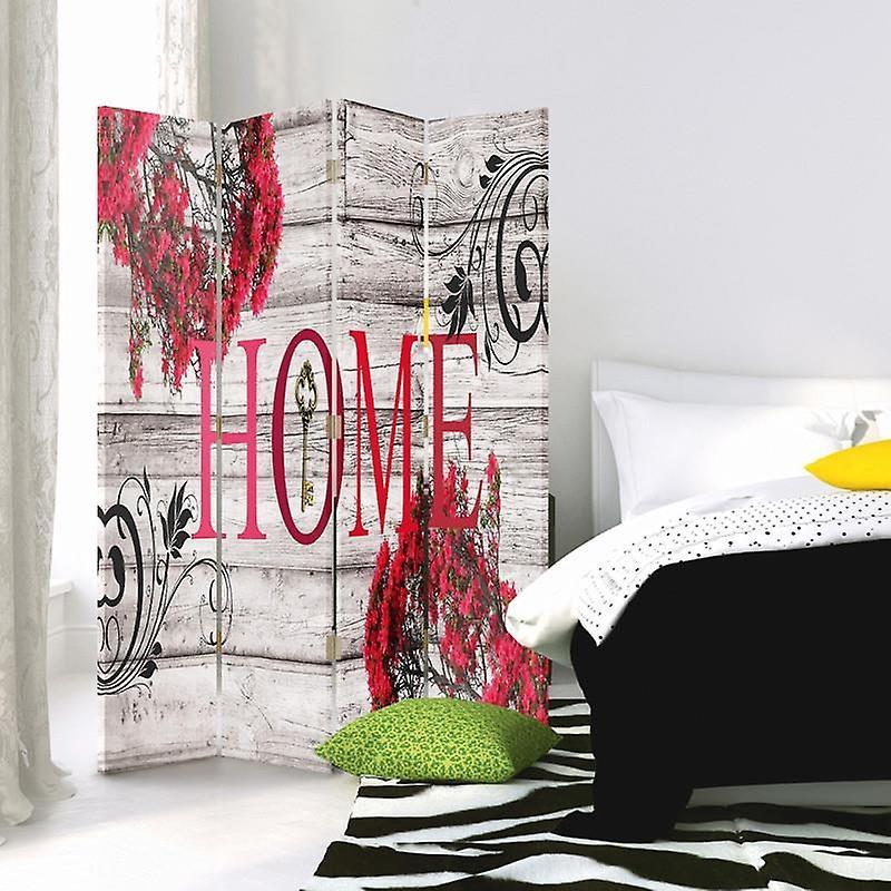 Diviseur de chambre, 4 panneaux, toile, maison de titre avec des fleurs 2
