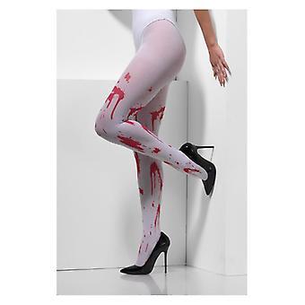 Womens Blut Splatter blickdichte Strumpfhose Halloween Fancy Dress Zubehör
