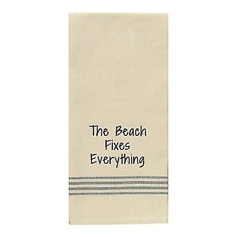 The Beach Fixes Everything Flour Sack Stripes Kitchen Dish Towel 28 Inch