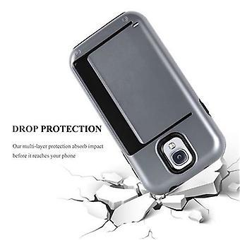 המקרה cadorabo עבור Samsung Galaxy S4-מקרה ב-כסף שריון-מקרה טלפון עם מגש כרטיס-קשה במקרה TPU סיליקון מקרה מגן עבור כיסוי היברידית בעיצוב בחוץ חובה כבד
