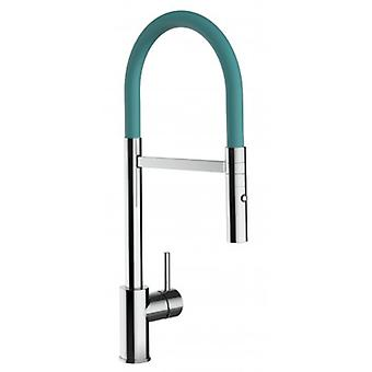 Single-lever Kitchen Sink Mixer With Turquoise Tiffany Spout And 2 Jets Shower - 195