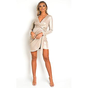 IKRUSH Womens Nina Snake Print Metallic Mini Dress