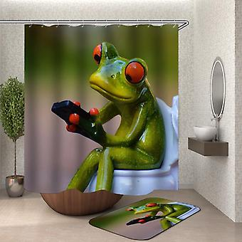 Frog On Toilet Shower Curtain