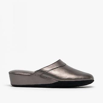 Chaleur Florence Ladies Mule Slippers Pewter