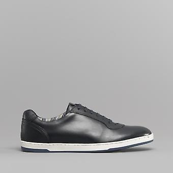 Base London Hustle Mens Leather Trainers Navy