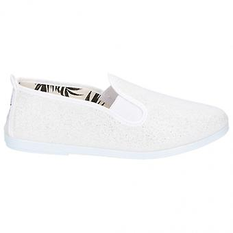 Flossy Onda Ladies Canvas Slip On Plimsolls Blanc