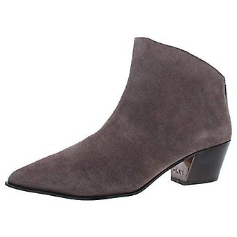 DKNY Womens Bason Suede Block Heel Booties Taupe 8.5 Medium (B,M)