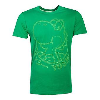 Nintendo Super Mario Bros Yoshi rubber print mannen ' s T-shirt medium groen