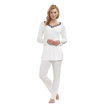Feraud 3191228-11697 Women's Couture Ivory White Embroidered Micromodal Pyjama Set