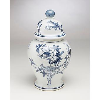 AA Importing 59836 Blue And White Ginger Jar With Lid