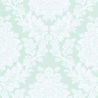 Claremont Fine Decor Mint Damask Wallpaper White Floral