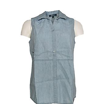 Kelly by Clinton Kelly Women's Top Button Front Sleeveless Blue A279082 #0