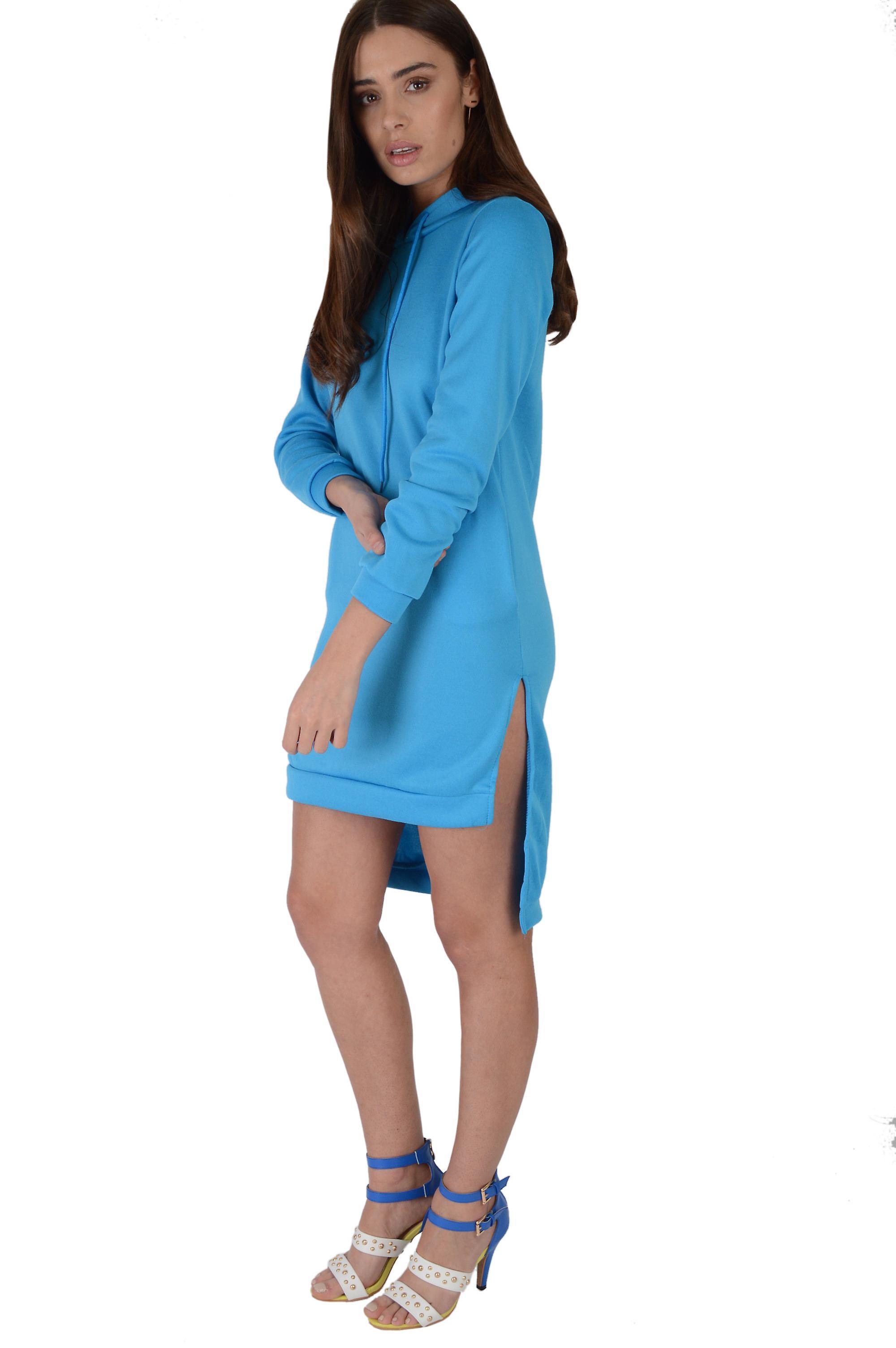 LMS Bright Blue Hooded Jumper Dress With Lower Back Hem - SAMPLE