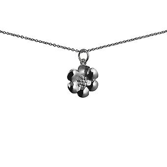 Silver 15x15mm Flower Pendant with a 1mm wide rolo Chain 24 inches