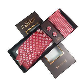 Cravată, cufflink & Hankerchief set exlusive Milan Colectia 100% hand made Red cu argint Patttern