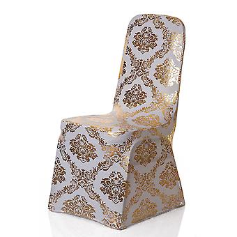 Spandex Chair Cover White with Floral Print Banquet Chair Cover-Gold