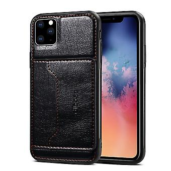 For iPhone 11 Pro Max Dibase TPU + PC + PU Wild Horse Texture Protective Case Wallet, Black