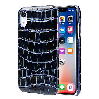 For iPhone XR Case Blue Genuine Crocodile Leather Back Shell Cover