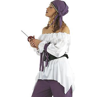 Wzburzyć koszula pirata bez ramiączek koszula pirata pirat Pani biały kostium bluzka