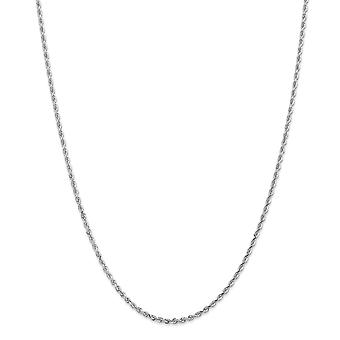 10k Ouro Branco 2.25mm Brilho cortado corda quádrupla cadeia de cordas joias de pulseira de tornozelo para mulheres - Comprimento: 7 a 10