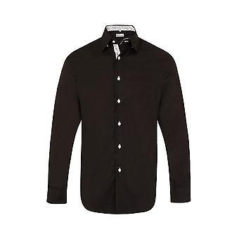 JSS Camisa de Ajuste Regular Preto Simples com Acabamento Preto e Branco