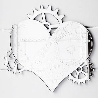 Steampunk Engraved Love Heart & Cogs Acrylic Mirror