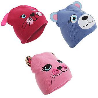 Childrens Girls Knitted Animal Design Winter Beanie Hat