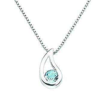 Silver Womens Checkerboard Teardrop Pendant With Chain - Blue Topaz
