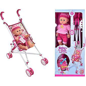 Jeu de poussette de poupée de chéri avec des accessoires de poussette et de poupées