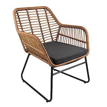 Charles Bentley Rattan 4 piezas jardín al aire libre patio salón Set sofás mesa de café en ratán natural con cojín gris
