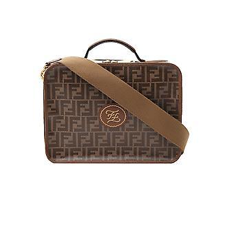 Fendi 7vv137a8v4f18au Men's Brown Leather Briefcase