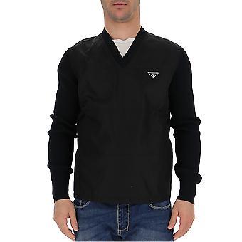 Prada Uma9331pqof0002 Männer's schwarze Wolle Pullover