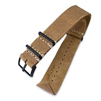 Strapcode n.a.t.o watch strap 20mm or 22mm miltat g10 grezzo nato watch strap, camel brown distressed calf leather extra soft, pvd black