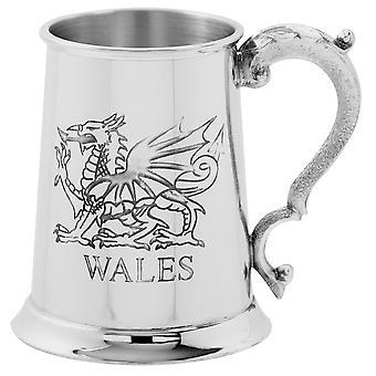 Wales Dragon Pewter Tankard - 1 Pint