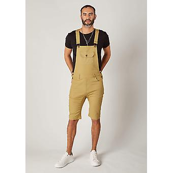 Jesse Mens Slim Fit algodão Dungaree shorts-Khaki