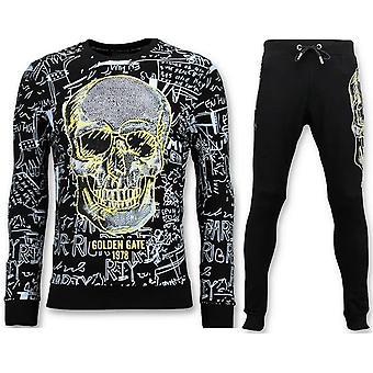 Jogging suit With Print - Neon Yellow Skull - Black