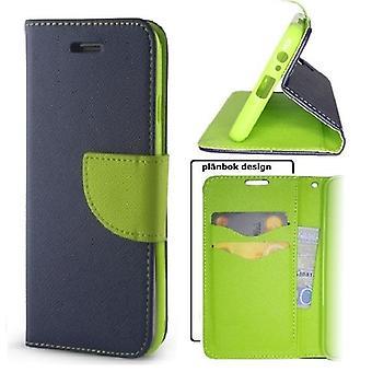 Samsung Galaxy A40 - Smart Fancy Mobilplånbok - Marinblå/grön