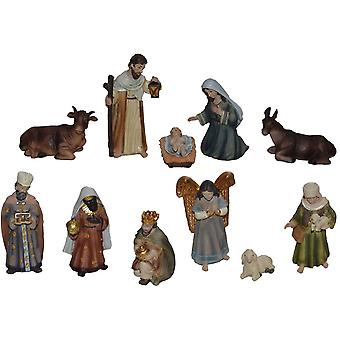 11-delige Nativity beeldjes. Set polyresin kerststal cijfers 11 cm