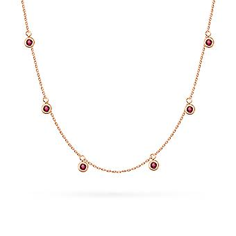 Necklace Constellation Precious Stone Pendants 18K Gold - Ruby | Emerald | Sapphire - Rose Gold, Ruby