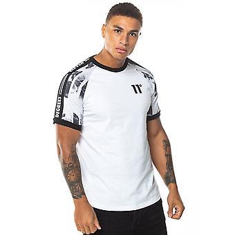 Onze degrés 11 Degrés 11d-221-186 Taped Ringer Imprimé Demi-Manche T-shirt - Blanc