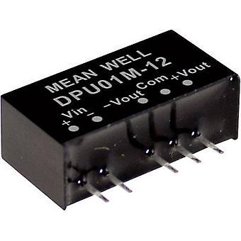 Keskimääräinen DPU01M-15 DC/DC-muunnin (moduuli) 33 mA 1 W Ei. lähtöjen määrä: 2 x