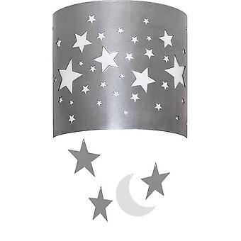 Lámpara de pared Starlight Color plata, metal blanco, plástico, L22xP10xA26 cm
