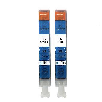 2 Cartucce di inchiostro per stampanti per stampanti cian con compatibilità HP 920C (HP920XL)