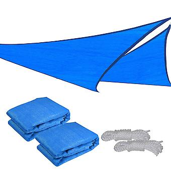 2x 16.5' Triangle Sun Shade Sail Patio Deck Beach Garden Yard Outdoor Canopy Cover UV Blocking (Blue)