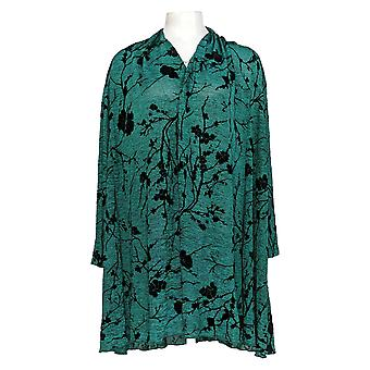 Creation Women's Plus Sweater Printed Open Front Cardigan Green