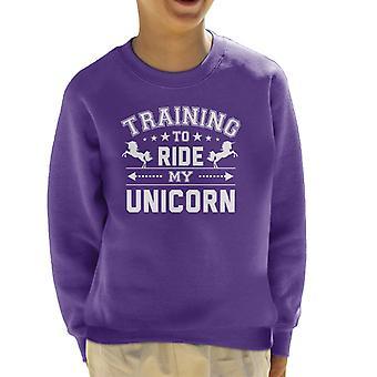 Training to Ride My Unicorn Kid's Sweatshirt