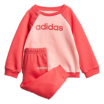 adidas Linear Jogger Infant Toddler Kids Girls Jumper Trouser Tracksuit Set Pink